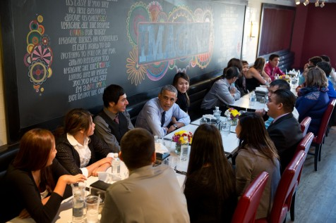 President Barack Obama and First Lady Michelle Obama have lunch with youth from the Standing Rock Sioux Tribe at We The Pizza/Good Stuff Eatery in Washington, D.C., November 20, 2014. (Official White House Photo by Pete Souza)